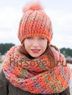 Вязание крючком шапка и шарф, фото 2.