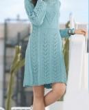 Голубое вязаное платье спицами, фото 1.