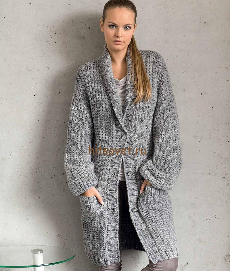 Пальто вязаное на спицах, фото.