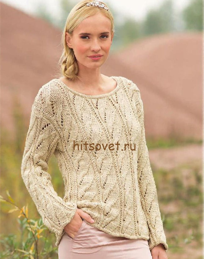Пуловер с косами спицами, фото.