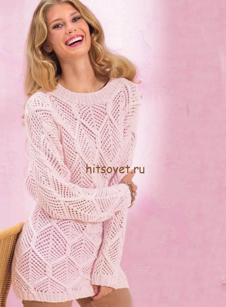 Пуловер с ромбами, фото.
