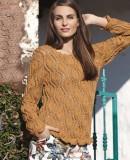 Пуловер с узором из листьев, фото.