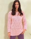 Розовый пуловер с высокой планкой, фото.