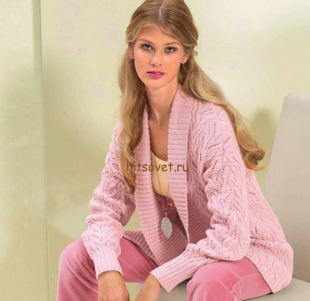 Розовый жакет с косами, фото.