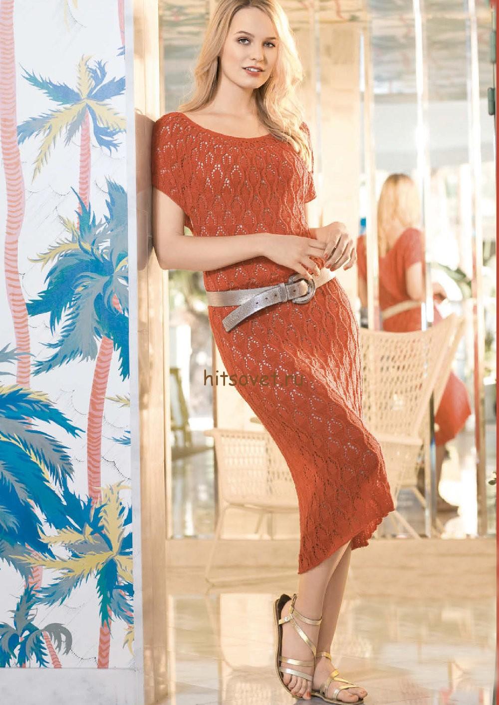 Вязаное кружевное платье