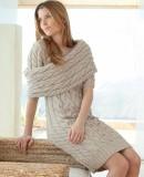 Вязаное платье с косами, фото.