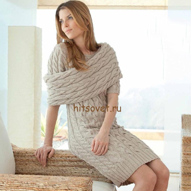 Вязаное платье с косами - Хитсовет