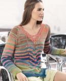 Вязаный полосатый пуловер, фото.