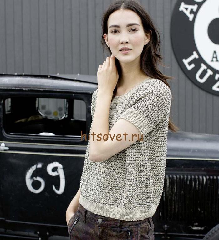 Летний пуловер спицами для женщин, фото 1.