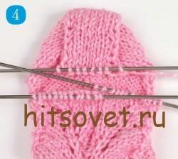 Мастрер класс вязание ажурных носков, шаг 4.