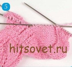 Мастрер класс вязание ажурных носков, шаг 5.