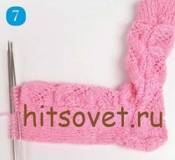 Мастрер класс вязание ажурных носков, шаг 7.