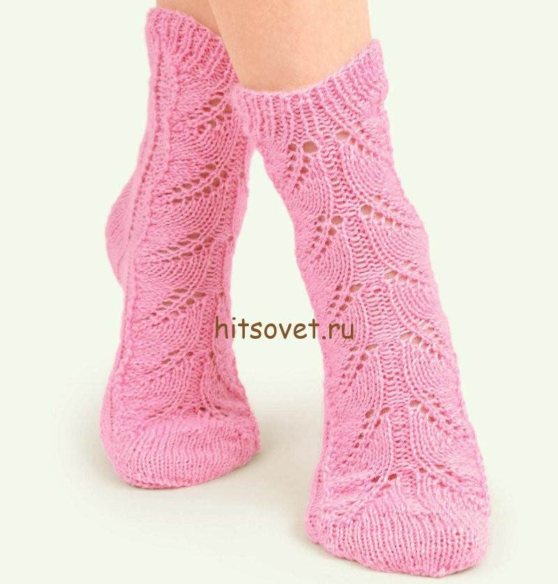Носки ажурные спицами, фото.