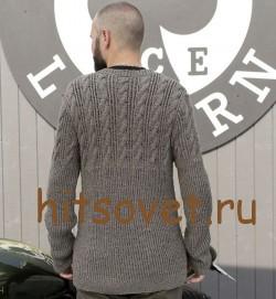 Пуловер мужской спицами, фото 2.