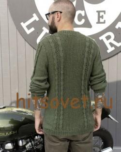 Пуловер мужской вязаный спицами схема, фото 3.
