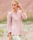 Розовый пуловер с узором розочки, фото.