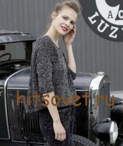Стильный пуловер спицами, фото 3.