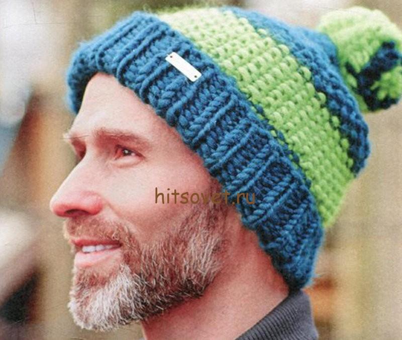 Вязаная шапка мужская, фото 1.