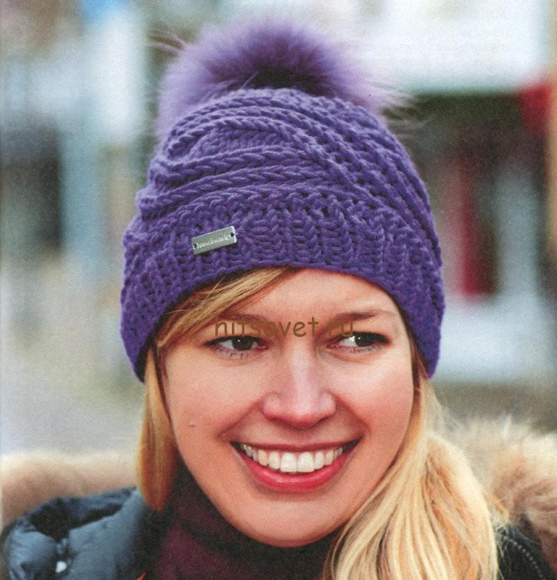 Вязание шапок для женщин с косами 844
