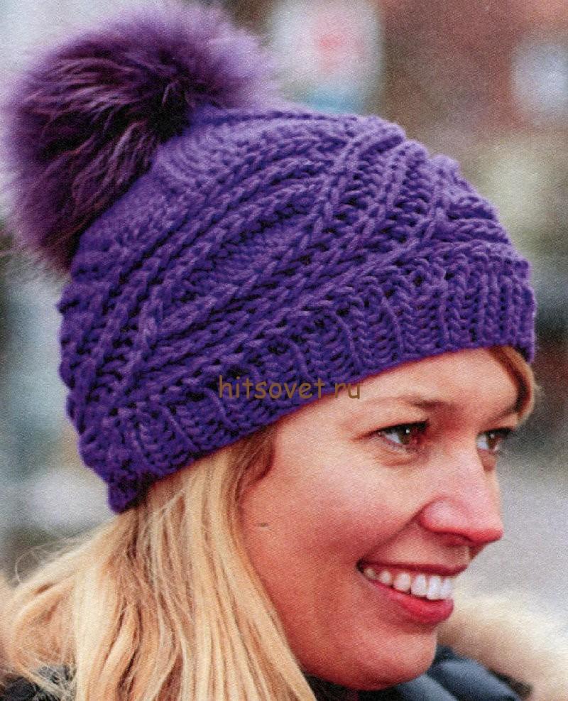 Вязаная шапка с косами, фото 1.