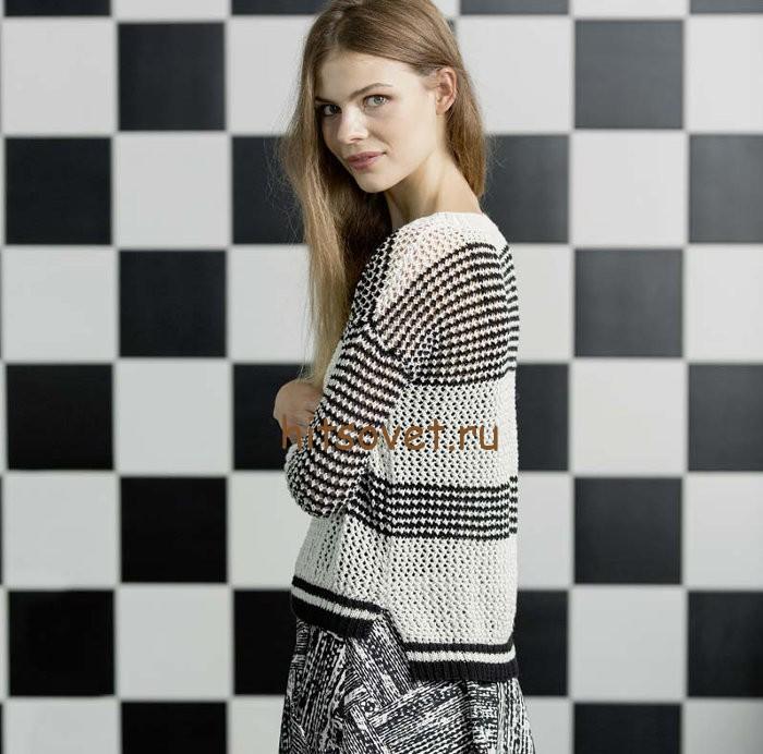 Женский пуловер с удлиненной спинкой, фото 1.