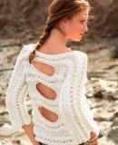Белый пуловер с косами схема, фото.