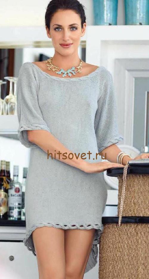 Красивое мини платье спицами. фото 1.