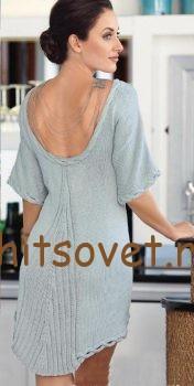 Красивое мини платье спицами, фото 2.