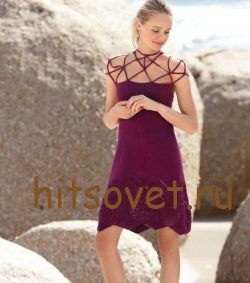 Красивое платье спицами