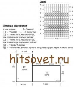 Схема вязания летнего пончо.