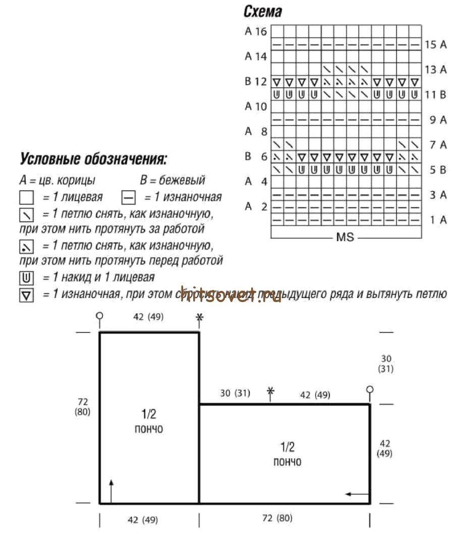 Вязание пончо из двух прямоугольников 79