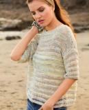 Летний пуловер из ленточной пряжи, фото.