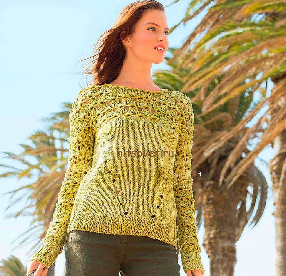 Летний пуловер из хлопка спицами, фото.