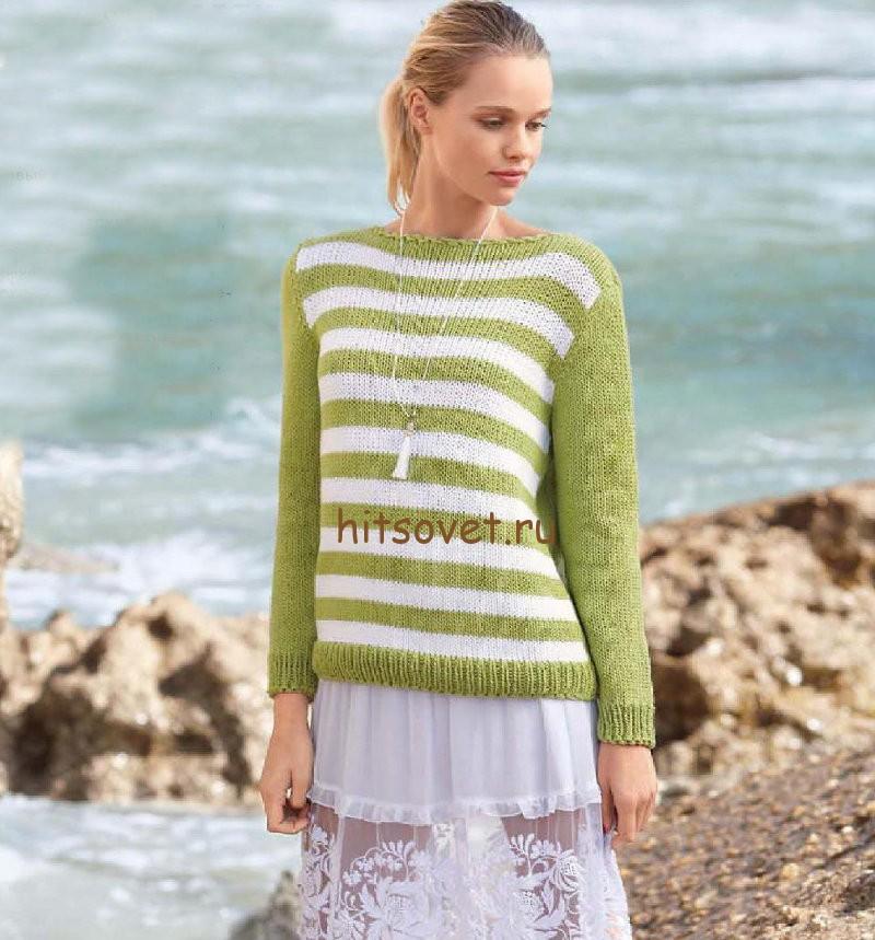 Летний пуловер с вырезом на спине