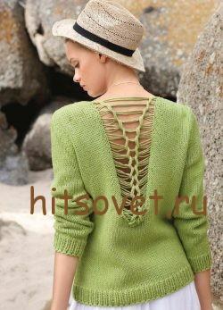 Летний пуловер с вырезом на спине, фото 2.