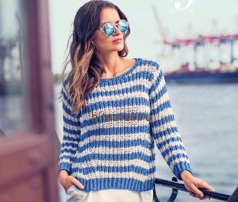 Летний пуловер в полоску, фото.