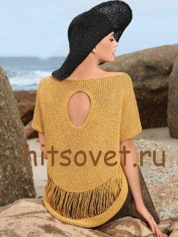 Летний свободный пуловер спицами, фото 2.