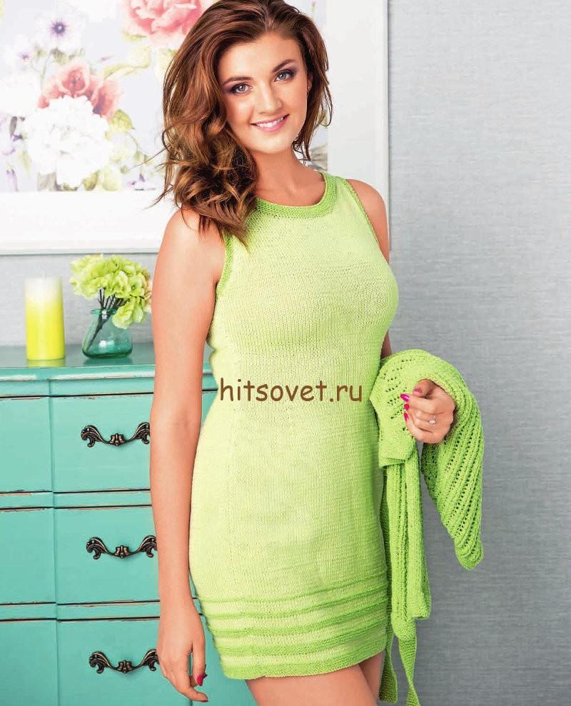 Мини платье вязаное спицами, фото.