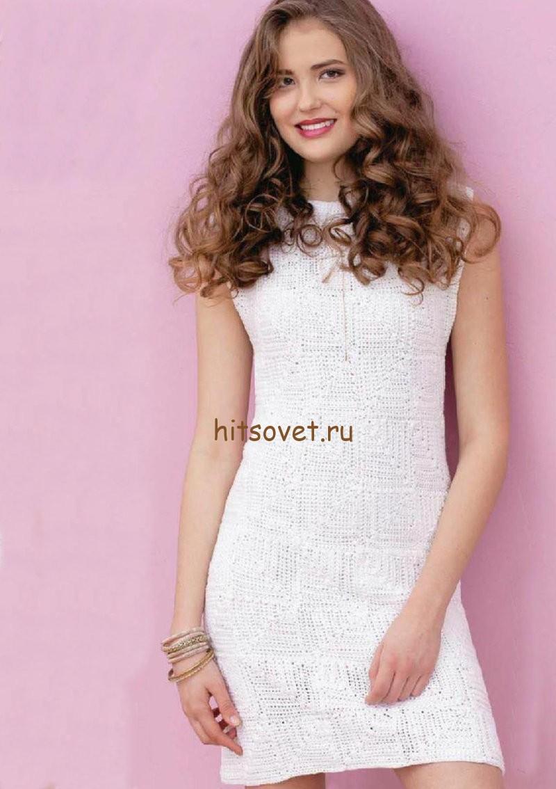 Платье белое крюком, фото.