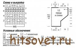 Схема и выкройка вязания полосатого летнего пуловера.