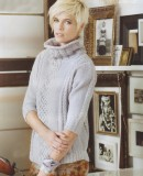 Свитер женский с косами спицами схемы, фото.