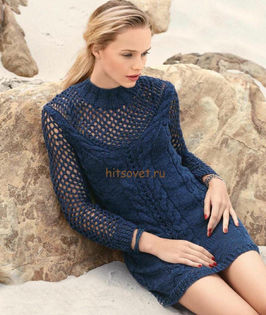Вязаное платье с косами спицами, фото 1.
