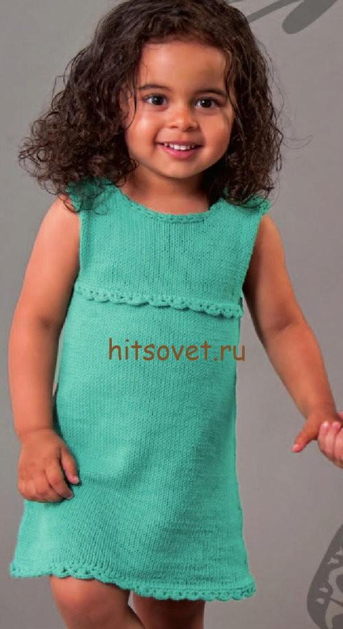 Вязаное платье для девочки 3-4 лет спицами, фото.