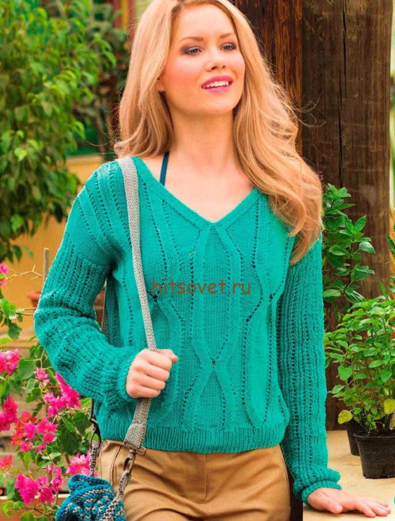 Вязаный пуловер на весну, фото.