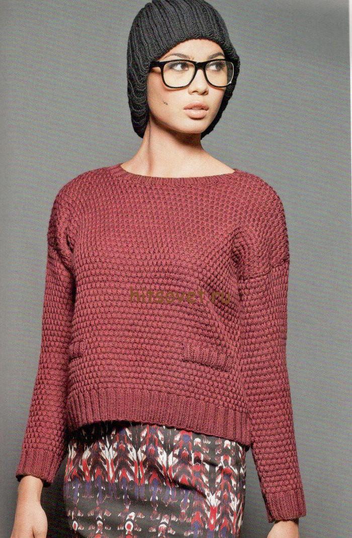 Короткий пуловер спицами женский, фото.