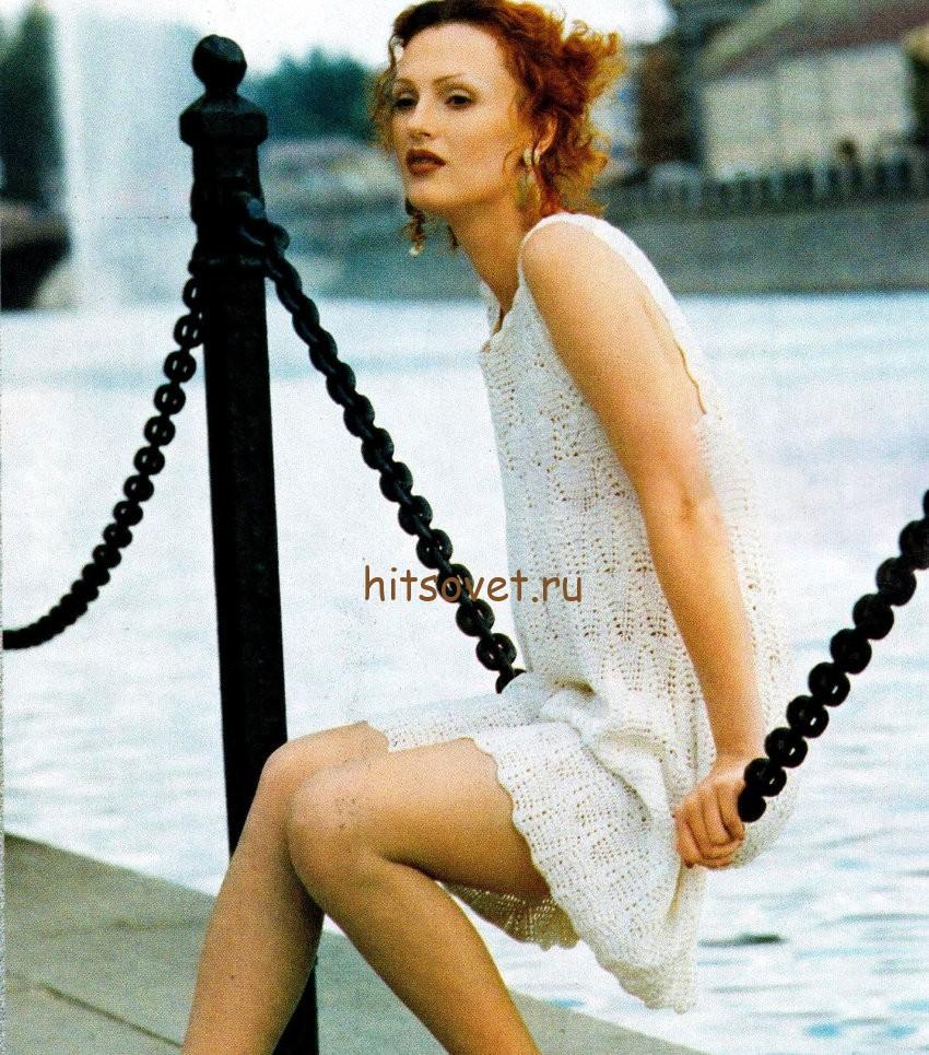 Красивое белое платье крючком