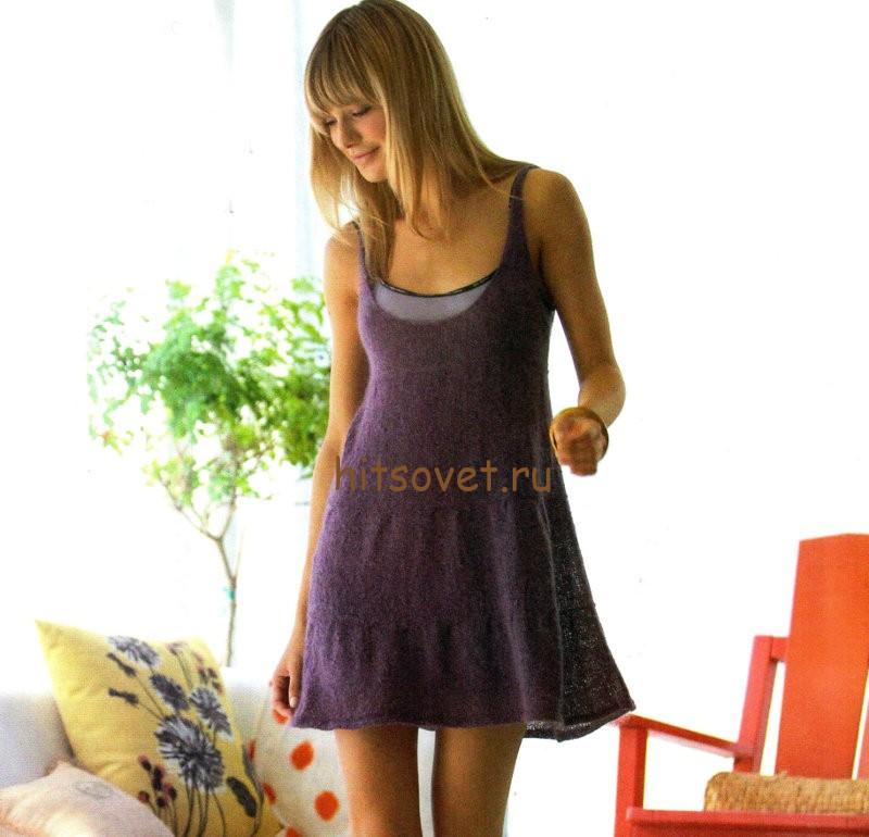 Мини платье вязаное
