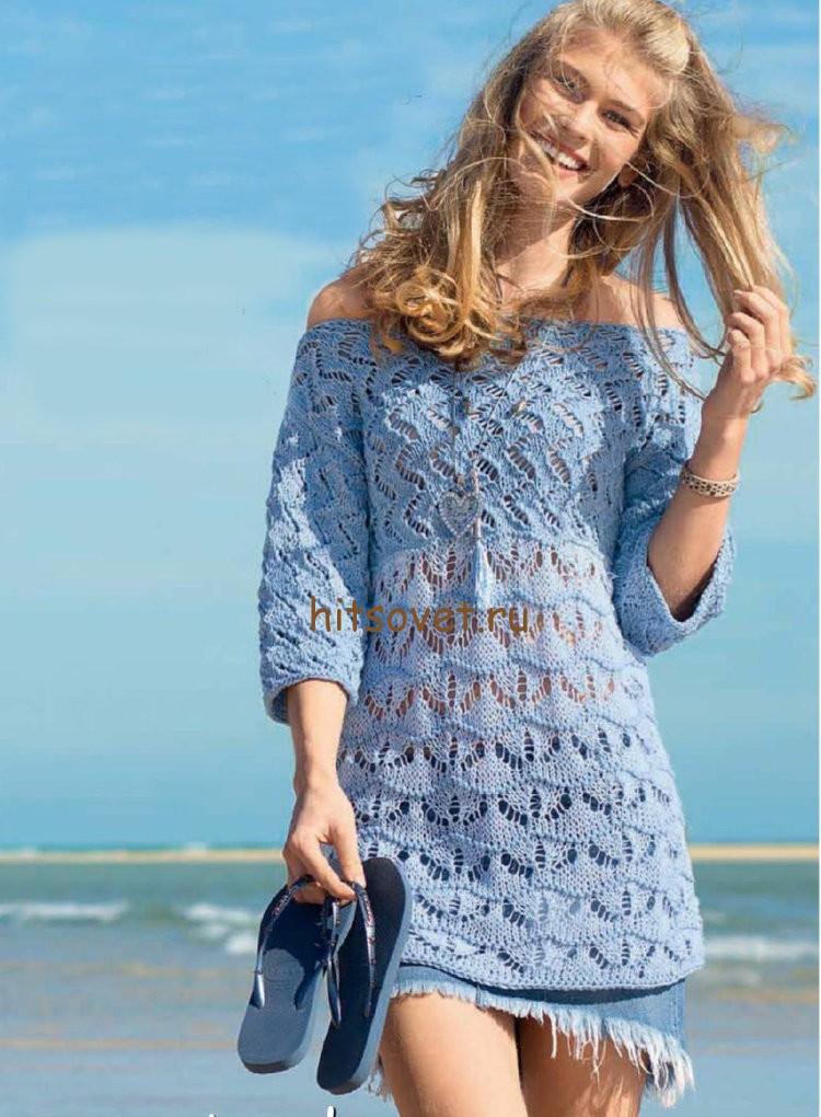Модная летняя туника спицами, фото.