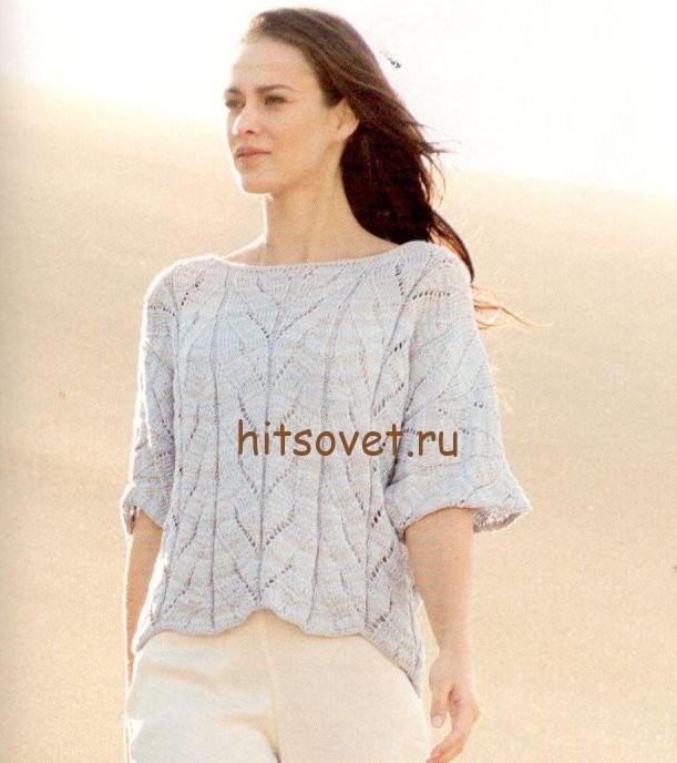Пуловер кимоно спицами схема, фото.