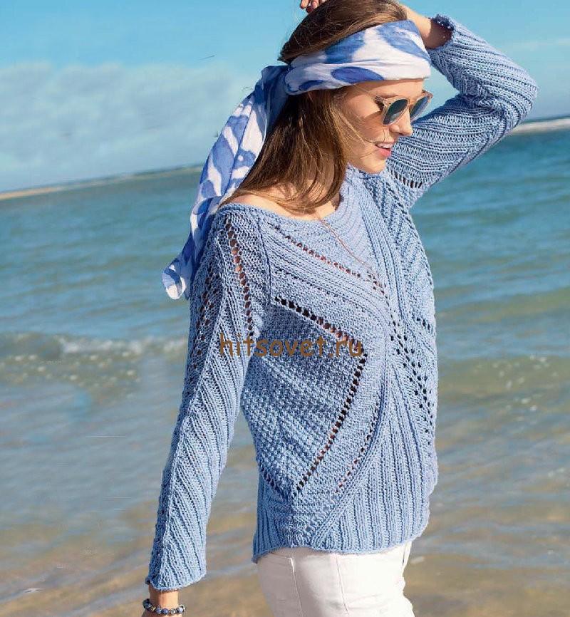 Пуловер на лето из хлопка, фото.